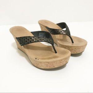 Ugg Wedge Flip Flop Platform Sandal Black Size 9